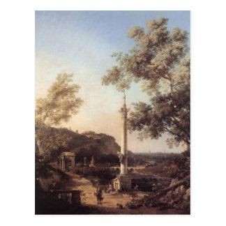 Capriccio : Paysage de rivière avec une colonne Carte Postale