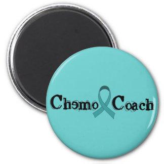 Car de chimio - ruban turquoise magnet rond 8 cm