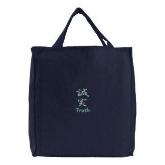 Caractère de kanji pour la vérité sur un sac