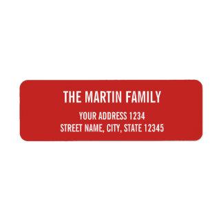 Caractères gras rouges et blancs étiquettes d'adresse retour