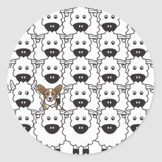 Cardigan Welse Corgi bij de Schapen Ronde Sticker