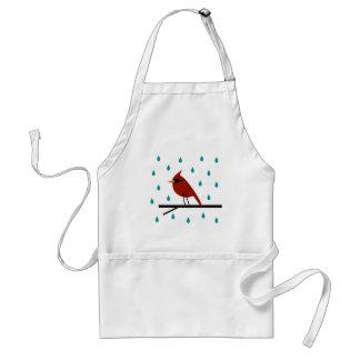 Cardinal sous la pluie tablier