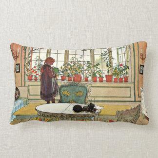 Carl Larsson - fleurs sur le rebord de fenêtre Coussins Carrés