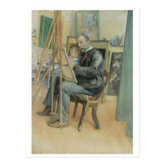 Carl Larsson peignant avec sa fille Carte Postale