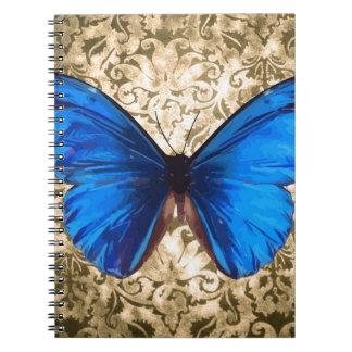 Carnet Art bleu de cru de damassé de papillon de monarque