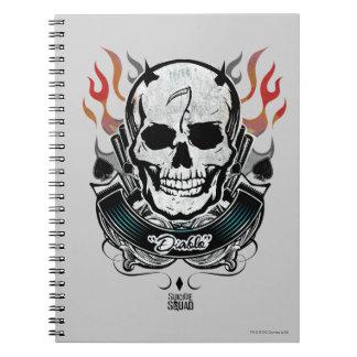 Carnet Art de tatouage de crâne et de flammes du peloton