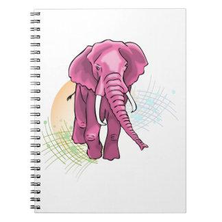 Carnet Aspiration d'éléphant rose - vecteur de coucher du
