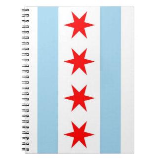 Carnet avec le drapeau état de Chicago, l'Illinois