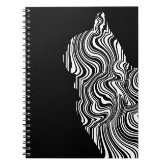 Carnet Black and White Cat Swirl abstrait monochrome