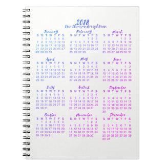 Carnet Calligraphie d'année civile du pourpre 2018 d'un