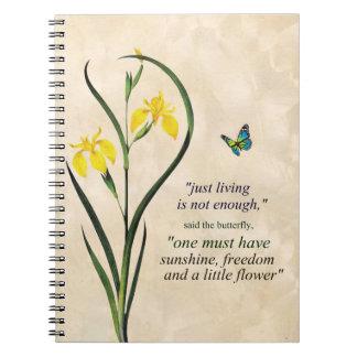 Carnet Citation de motivation de papillon bleu jaune de