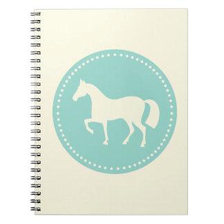 Carnet classique de cheval/poney (crème et teeal)