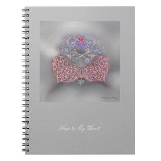 Carnet Coeurs roses avec les clés argentées et le Fleur