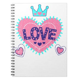 Carnet Couronne et coeurs d'amour