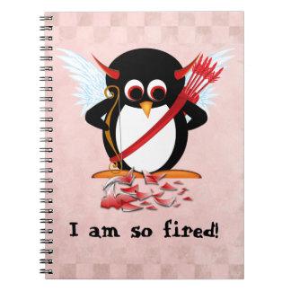 Carnet Cupidon mauvais de Penguin™ mis le feu