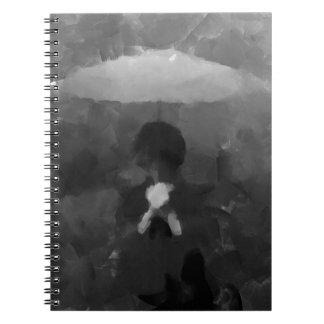 Carnet Dans la peinture foncée d'art de pluie