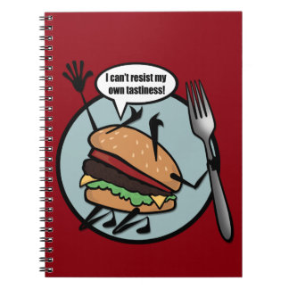 CARNET DE NOTES À SPIRALE DE CHEESEBURGER DRÔLE