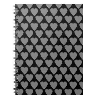 Carnet de notes à spirale de coeurs gris