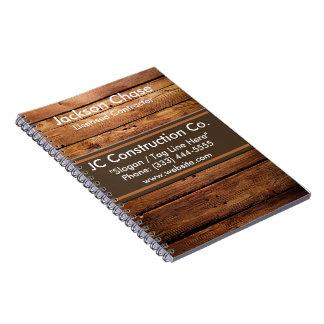 Carnet de notes à spirale de grain en bois de