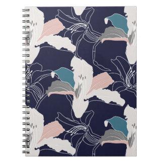 Carnet de notes à spirale floral tropical de