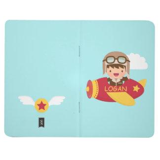 Carnet De Poche Aventure mignonne d'avion de garçon d'aviateur