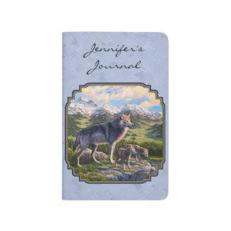 Carnet De Poche Bleu de loup de mère et de ciel de chiots