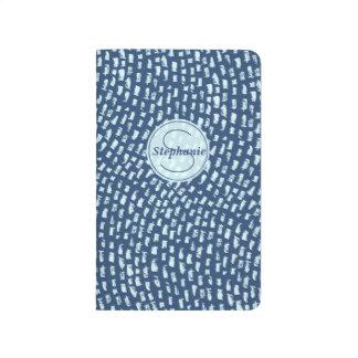Carnet De Poche Conception texturisée bleue personnalisée de tiret