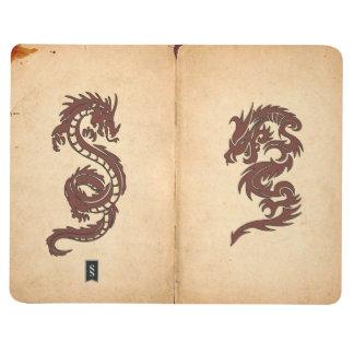 Carnet De Poche Dragons chinois de mythologie, vieux papier -