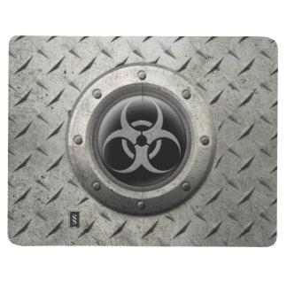 Carnet De Poche Effet industriel gris et noir d'acier de Biohazard