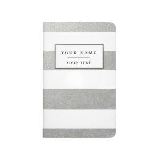 Carnet De Poche Le blanc élégant barre l'aluminium argenté imprimé