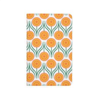 Carnet De Poche Motif-Blanc floral moderne de jaune orange