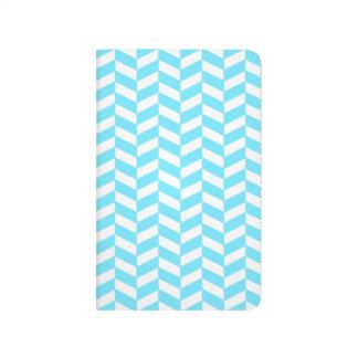 Carnet De Poche Motif bleu lumineux blanc en arête de poisson de