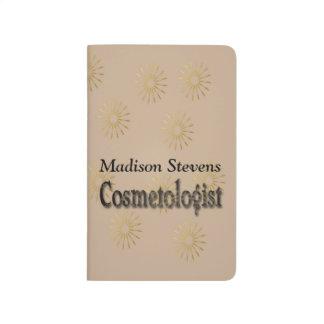 Carnet De Poche Motif de fleur élégant d'or de Cosmetologist