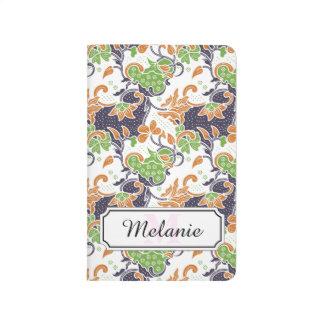 Carnet De Poche Motif floral artistique de batik de vignes
