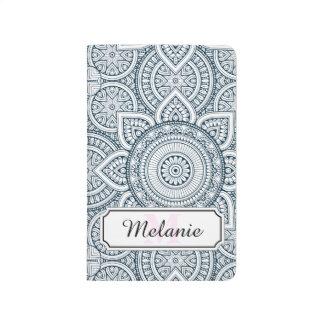 Carnet De Poche Motif floral blanc bleu géométrique de mandala