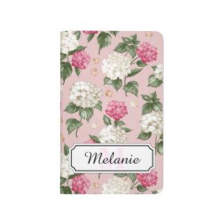Carnet De Poche Motif sans couture floral d'hortensia rose blanc