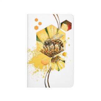 Carnet De Poche Peinture d'aquarelle de fleur de jaune d'abeille