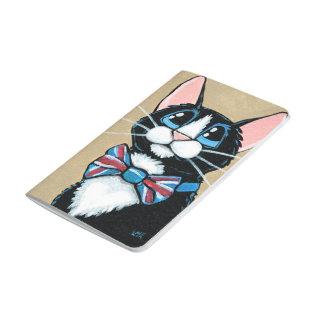 Carnet De Poche Peinture de port de cravate d'arc de chat