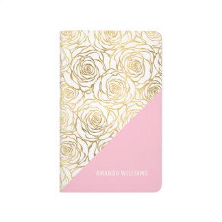 Carnet De Poche Roses d'or avec le rose
