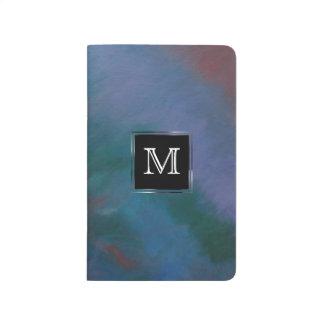 Carnet De Poche Rouge bruyant Ombre de vert bleu de monogramme du