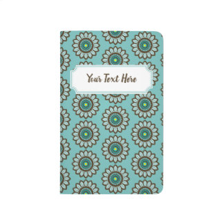 Teal Stylized Retro Floral Pattern with Nameplate