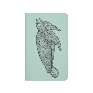Carnet De Poche Tortue de mer florale Artsy illustrée par main