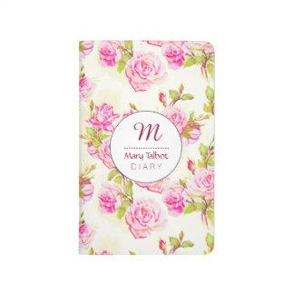 Carnet De Poche Vieille poche rose J de monogramme de motif floral