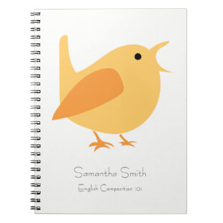 Carnet d'oiseau de chant, orange, personnalisable