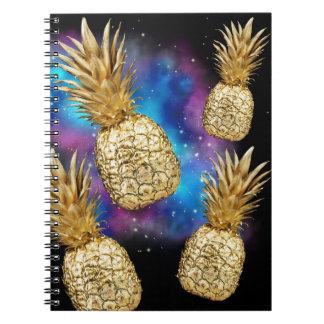Carnet d'or tropical de galaxie d'ananas