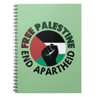 Carnet Drapeau libre de la Palestine d'apartheid de fin