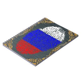 Carnet Drapeau russe d'empreinte digitale de contact