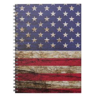 Carnet Drapeau rustique des Etats-Unis d'Américain