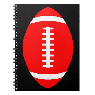 Carnet École en spirale rouge de joueur de football,