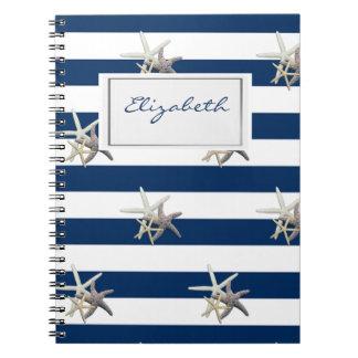 Carnet Étoiles de mer adorables, bleu marine